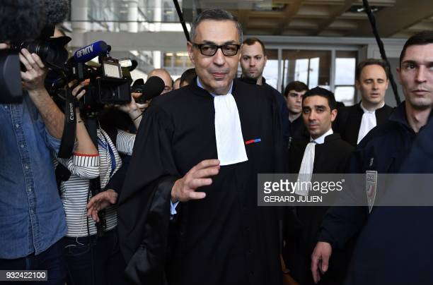 Lawyer for Laeticia Hallyday Ardavan AmirAslani leaves a courtroom in Nanterre on March 15 Nanterre Regional Court postponned the examination of the...