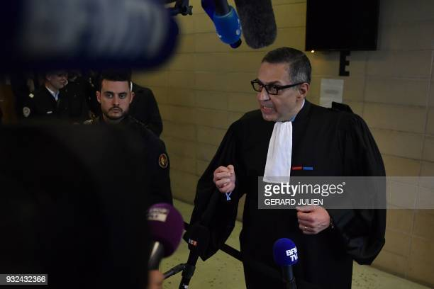 Lawyer for Laeticia Hallyday Ardavan AmirAslani speaks to journalist at the Nanterre Regional Court in Nanterre on March 15 Nanterre Regional Court...