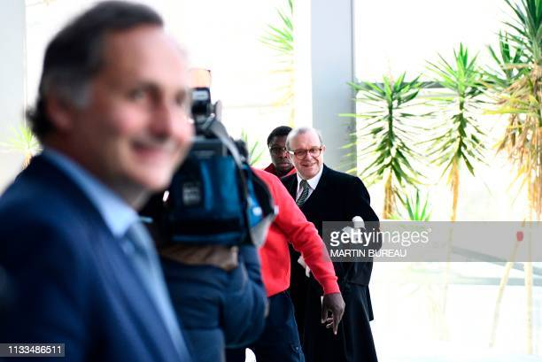 Lawyer for Laura Smet daughter of late French singer Johnny Hallyday Herve Temime arrives prior hearing at the Nanterre Regional courthouse near...
