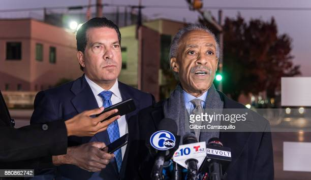Lawyer for Meek Mill Joe Tacopina and civil rights activist Al Sharpton hold a press conference after they visited Meek Mill at Chester State...