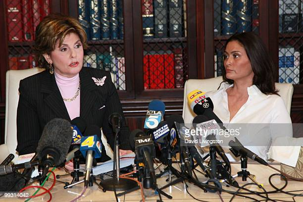 Lawyer Gloria Allred and actress Charlotte Lewis speak during a press conference on May 14 2010 in Los Angeles California Charlotte Lewis alleges...