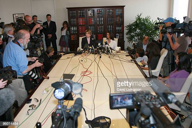 Lawyer Gloria Allred and actress Charlotte Lewis speak during a press conference on May 14, 2010 in Los Angeles, California. Charlotte Lewis alleges...