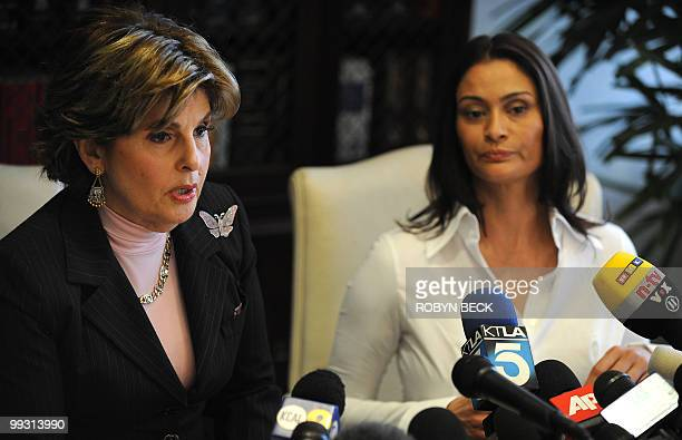 Lawyer Gloria Allred speaks at a press conference with her client Charlotte Lewis an actress from London in Los Angeles May 14 2010 Lewis who...