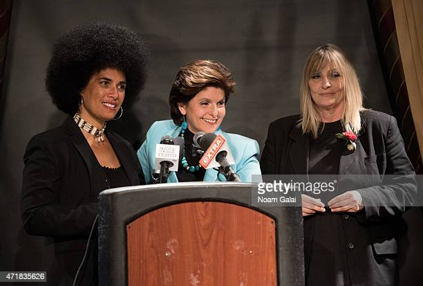 Lawyer Gloria Allred speaks during a press conference with actress Lili Bernard and writer Sammie Mays two new alleged victims of Bill Cosby at The...
