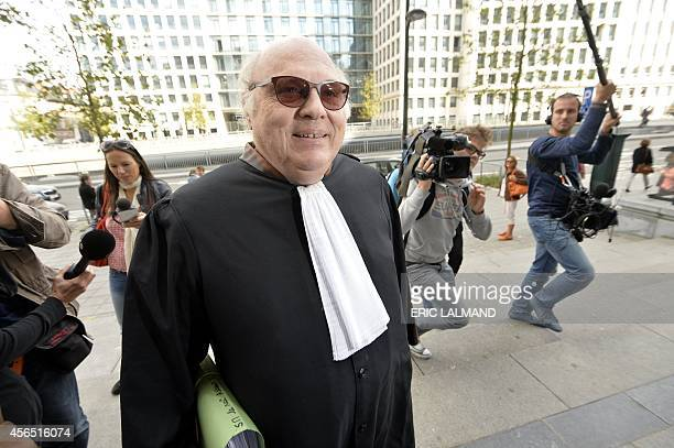 Lawyer Guy Hiernaux defending former Belgian King Albert II arrives on October 2 2014 at the Brussels Trial Court of First Instance for the pleadings...