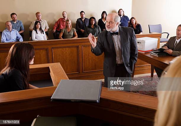 lawyer in a courtroom - courtroom stock pictures, royalty-free photos & images