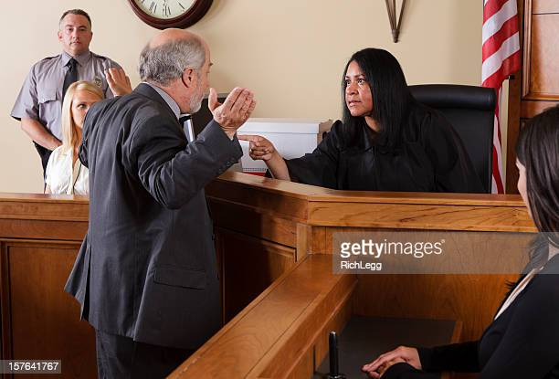 lawyer in a courtroom - judge law stock pictures, royalty-free photos & images