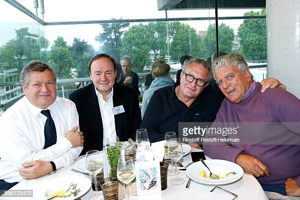 Lawyer Jean Veil journalists Jerome Jaffre Michel Field and autor Olivier Duhamel attend the 'France Television' Lunch during Day Ten of the 2016...