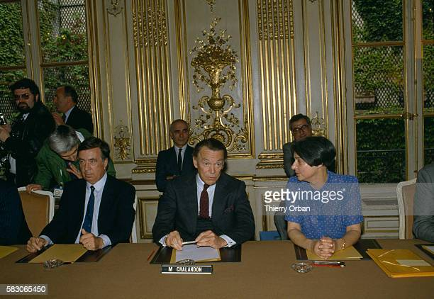 Lawyer JeanMarc Varaut French Minister of Justice Albin Chalandon and Sociologist Dominique Schnapper join a meeting of the Nationality Commission at...