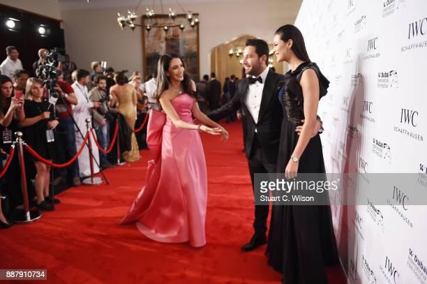 Lawyer Jessica Kahawaty Tv presenter Wissam Breidy and actress Rym Said attend the sixth IWC Filmmaker Award gala dinner at the 14th Dubai...