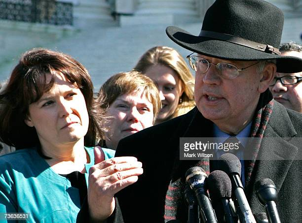 Lawyer Kenneth Starr speaks while Deborah Morse listens in front of the US Supreme Court building March 19 2007 in Washington DC The Supreme Court is...