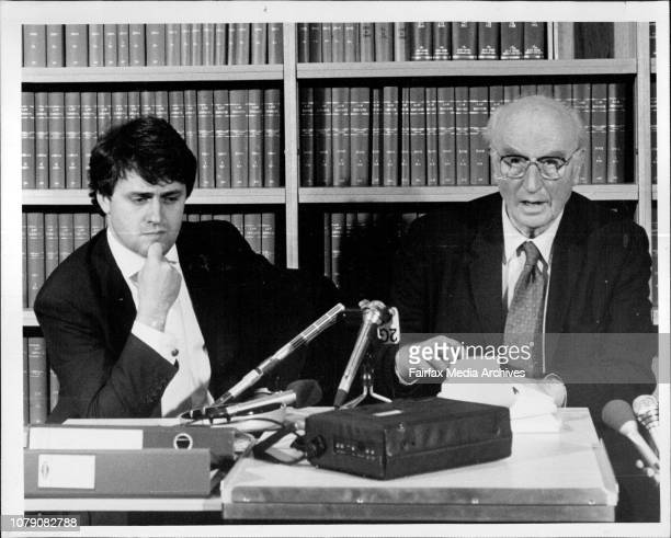 Lawyer Malcolm Turnbull and author Peter Wright at a press conference in Sydney to discuss the latest outcome of the M15 spy case The conference was...