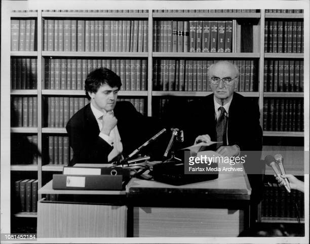 Lawyer Malcolm Turnbull and author Peter Wright at a press conference in Sydney to discuss the latest outcome of the MI5 spy case The conference was...
