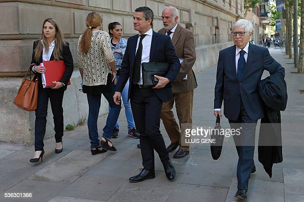 Lawyer of Barcelona football star Lionel Messi Enrique Bacigalupo arrives at the courhouse on June 1 2016 in Barcelona where Messi is to face judges...
