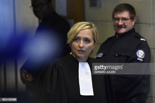 Lawyer of David Hallyday Carine Piccio talks to journalists at the Nanterre Regional Court in Nanterre near Paris on March 15 2018 Nanterre Regional...