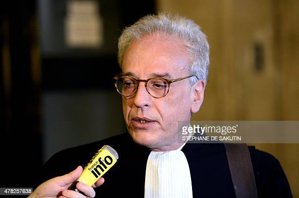 Lawyer of Maurice Agnelet Didier Bouthors speaks to the press on June 24 2015 at the courthouse of Paris during a hearing in the appeal of his client...