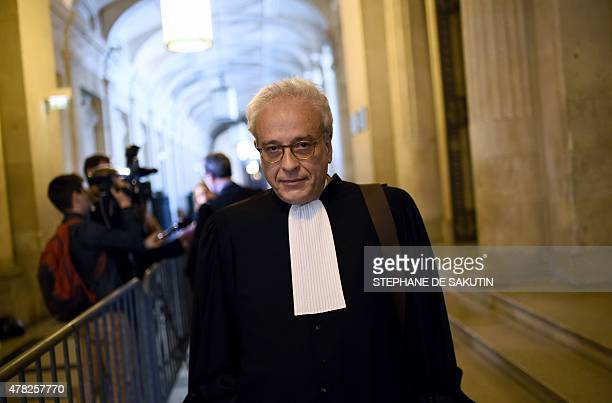 Lawyer of Maurice Agnelet Didier Bouthors walks on June 24 2015 at the courthouse of Paris during a hearing in the appeal of his client sentenced in...