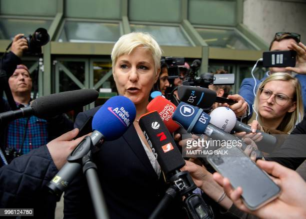 Lawyer of the defendant Anja Sturm speaks to media after the proclamation of sentence in the trial against Beate Zschaepe the only surviving member...