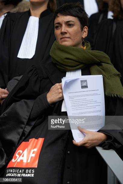 A lawyer of the SAF listen to a discourse Lawyers counsels and magistrates gathered in front of the Toulouse' courthouse for a day called 'Dead...