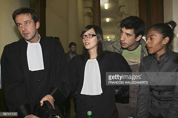 Lawyer ofJavier Loja Veronique Dockx and the sister Javier Loja, arrive to give a press conference after Loja appeared before the council chamber 14...