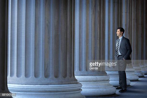 lawyer or banker standing next to large columns - government stock pictures, royalty-free photos & images