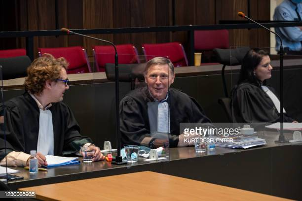 Lawyer Rik Vanreusel, Lawyer Jef Vermassen and Lawyer Sophy De Coster pictured during the first day of the assizes trial of Ann Vandekerckhove for an...