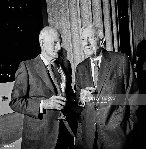Lawyer Robert M Morgenthau and news anchor Walter Cronkite are photographed for Vanity Fair Magazine on April 24 2007 at the Vanity Fair Tribeca Film...