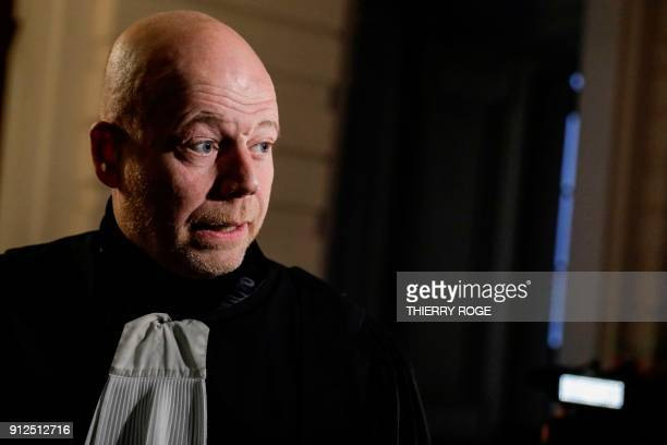 Lawyer Sven Mary looks on during the first session of the 2013 Brussels Airport diamond heist case at the Brussels criminal court on January 31 in...