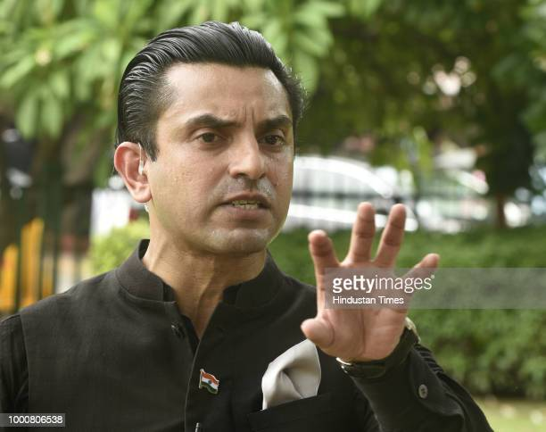 Lawyer Tehseen Poonawalla speaks to media personnel after a hearing on mob lynchings at Supreme Court of India on July 17 2018 in New Delhi India The...
