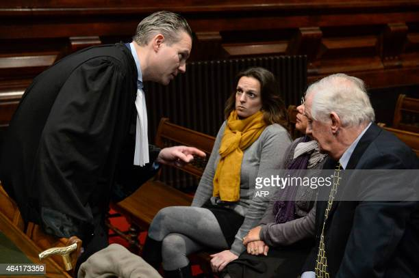 Lawyer Walter Damen and the mother and grandparents of the victims are pictured at the jury constitution session of the assizes trial of Manuela...