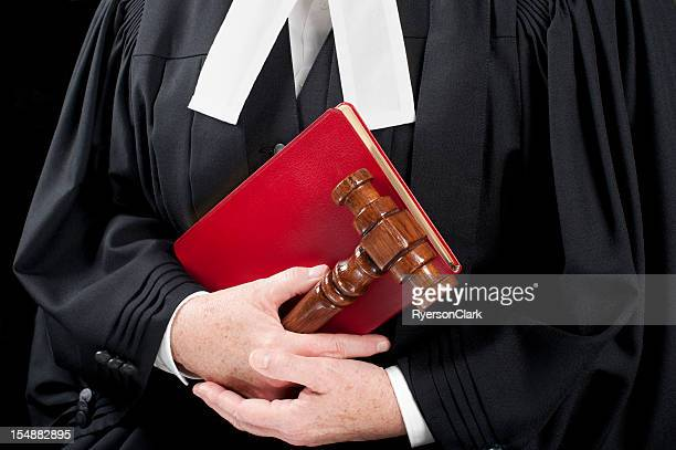 Lawyer Wearing Formal Court Gowns with a book.