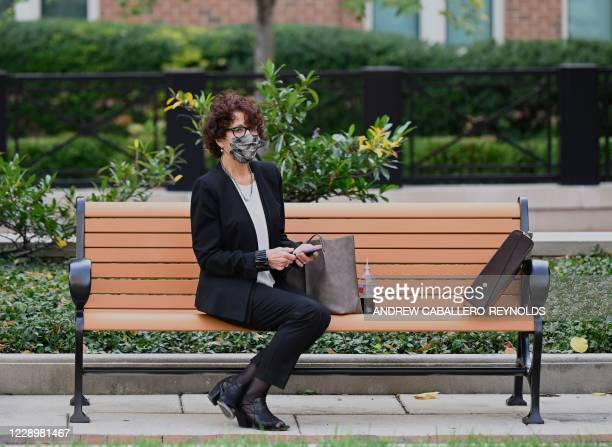 "Lawyer with the defense teams for the two British ISIS militants dubbed ""The Beatles,"" takes a break at the Federal Courthouse on October 9, 2020 in..."