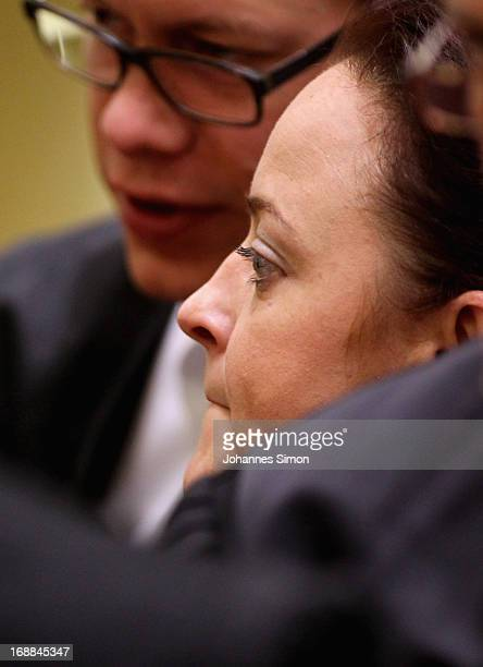 Lawyer Wolfgang Heer chats with his client Beate Zschaepe in the courtroom on day four in the courtroom on day four of the NSU neoNazis murder trial...