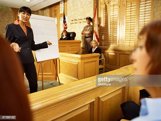 Lawyer working with a flipchart in front of the jury