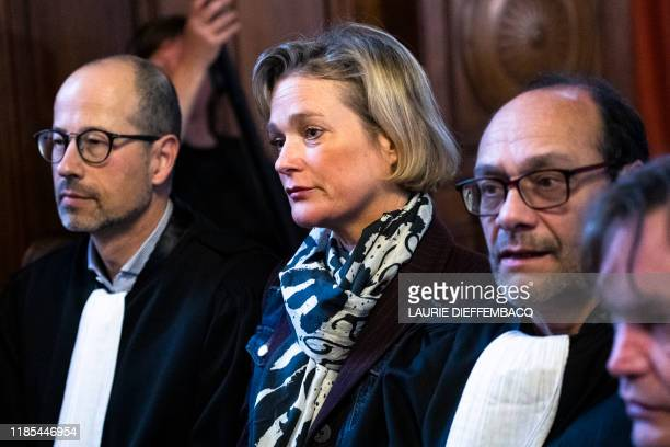 Lawyer YvesHenri Leleu Belgian artist Delphine Boel and Lawyer Marc Uyttendaele pictured during a session at the Cassation Court following the demand...
