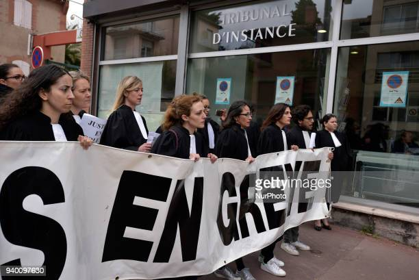 Lawyers and judges in front of the Court of First Instance of Toulouse which is supposed to close The French Bar Association all lawyers' unions all...