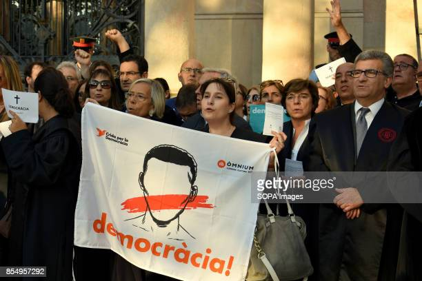 COMPANYS 14 BARCELONA CATALONIA SPAIN Lawyers are seen taking part of a protest while holding a banner About 200 lawyers take part in a protest front...