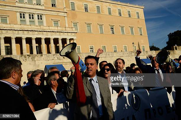 Lawyers chant slogans against planned reforms in Syntagma square Demonstrations against further austerity in the Greek capital Athens were marked by...