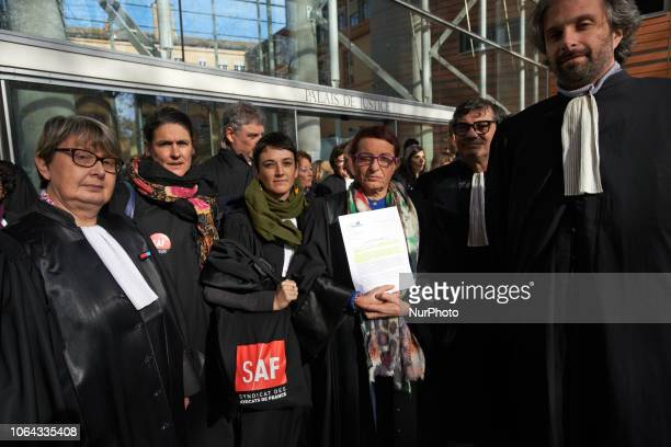 Lawyers counsels and magistrates gathered in front of the Toulouse' courthouse for a day called 'Dead Justice Day' in protest against the Justice...