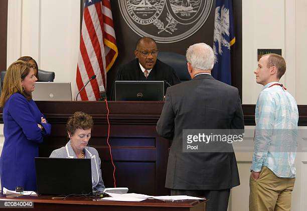 Lawyers discuss in front of Judge Clifton Newman ahead of the trial for former North Charleston Police Officer Michael Slager, in the courtroom,...