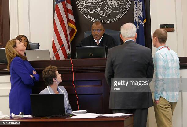 Lawyers discuss in front of Judge Clifton Newman ahead of the trial for former North Charleston Police Officer Michael Slager in the courtroom...