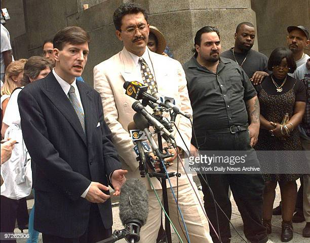 Lawyers for accused con artists Sante Kimes and Kenneth Kimes hold a press conference on the sidewalk in front of Manhattan Criminal Court Matthew...
