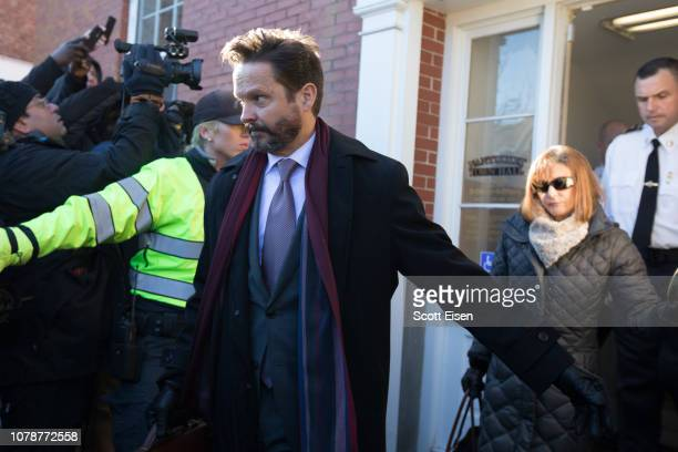 Lawyers for actor Kevin Spacey Alan Jackson and Juliane Baliro leave Nantucket District Court after he was arraigned on sexual assault charges on...