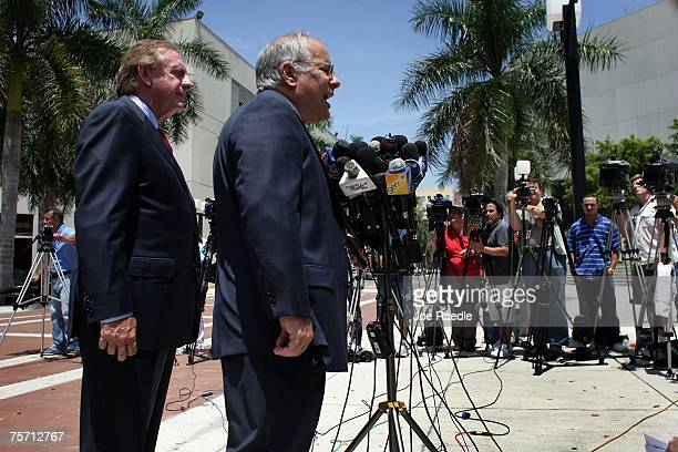 Lawyers for former Panamanian dictator Manuel Noriega Frank Rubino and Jon May speak to the media in front of the Federal Courthouse July 26 2007 in...