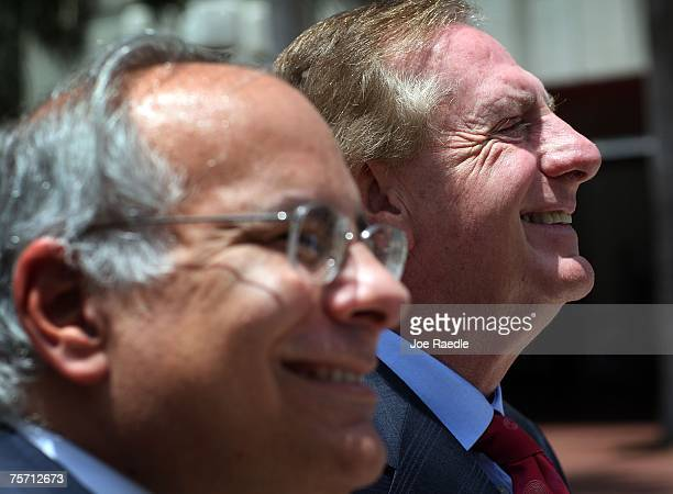 Lawyers for former Panamanian dictator Manuel Noriega Jon May and Frank Rubino speak to the media in front of the Federal Courthouse July 26 2007 in...