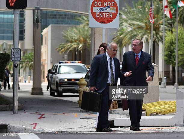 Lawyers for former Panamanian dictator Manuel Noriega Jon May and Frank Rubino walk out of the Federal Courthouse July 26 2007 in Miami Florida The...