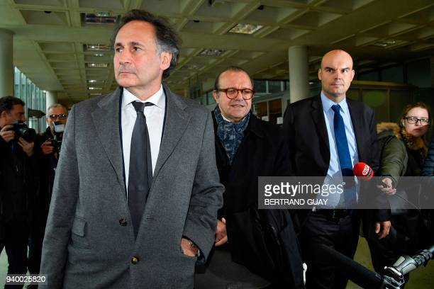 TOPSHOT Lawyers for Laura Smet daughter of late French singer Johnny Hallyday PierreOlivier Sur Herve Temime and Emmanuel Ravanas arrive at the...