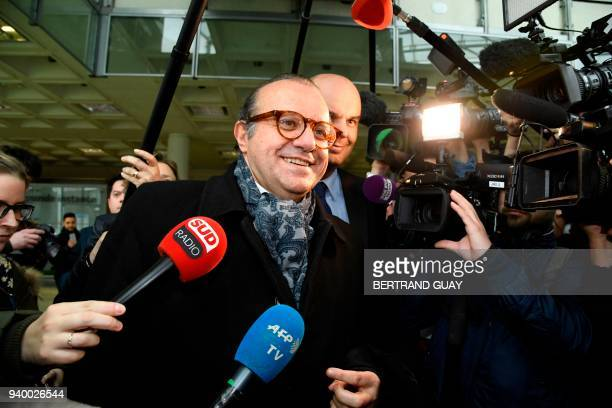 Lawyers for Laura Smet daughter of late French singer Johnny Hallyday Herve Temime and Emmanuel Ravanas address the media as they arrive at the...