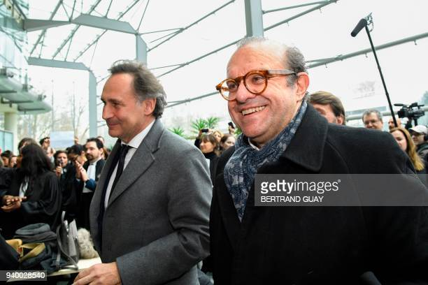 Lawyers for Laura Smet daughter of late French singer Johnny Hallyday PierreOlivier Sur and Herve Temime react as they arrive at the Nanterre...
