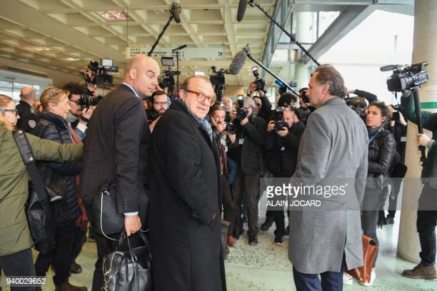 Lawyers for Laura Smet daughter of late French singer Johnny Hallyday PierreOlivier Sur Herve Temime and Emmanuel Ravanas face reporters as they...